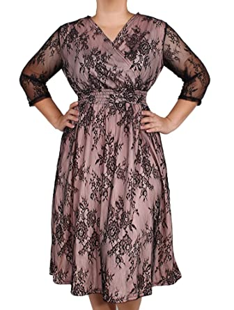 fc215834bc5 Women Vintage Floral Lace Wedding Party Formal Evening Cocktail 3 4 Long  Sleeve Plus Size