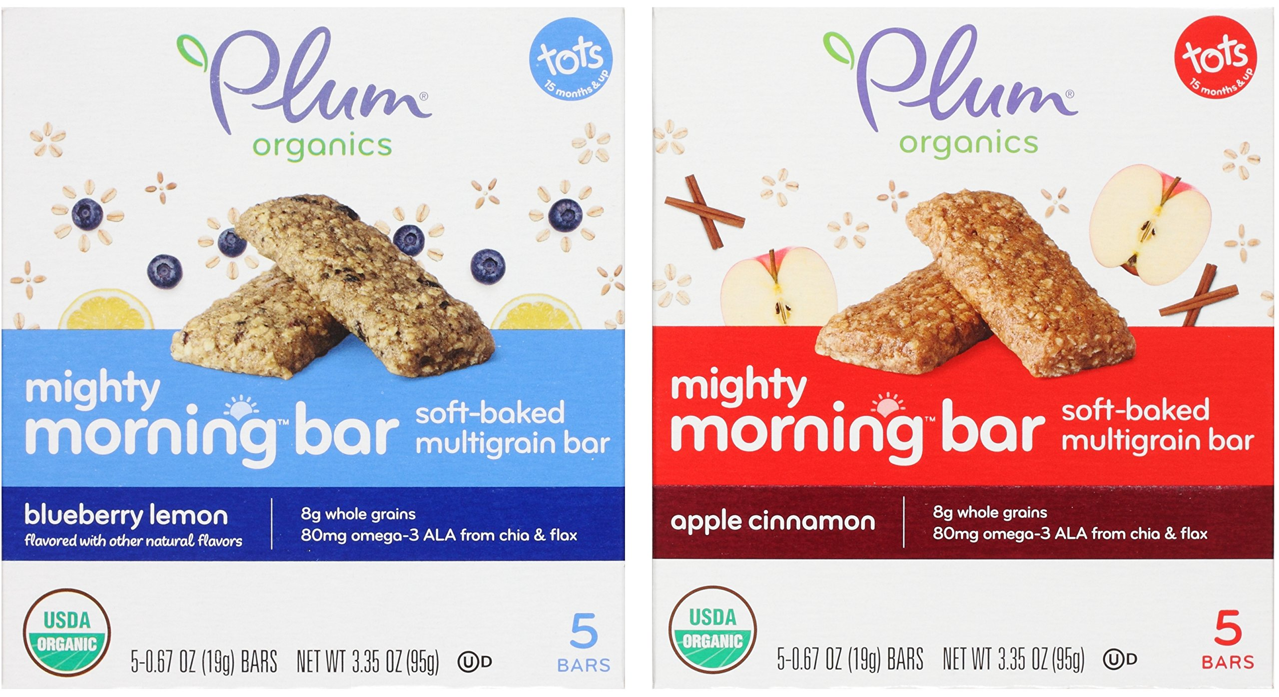 Plum Organics Mighty Morning Bar Variety Bundle: (1) Blueberry Lemon 3.35oz and (1) Apple Cinnamon 3.35oz (2 Pack Total) by Plum Organics
