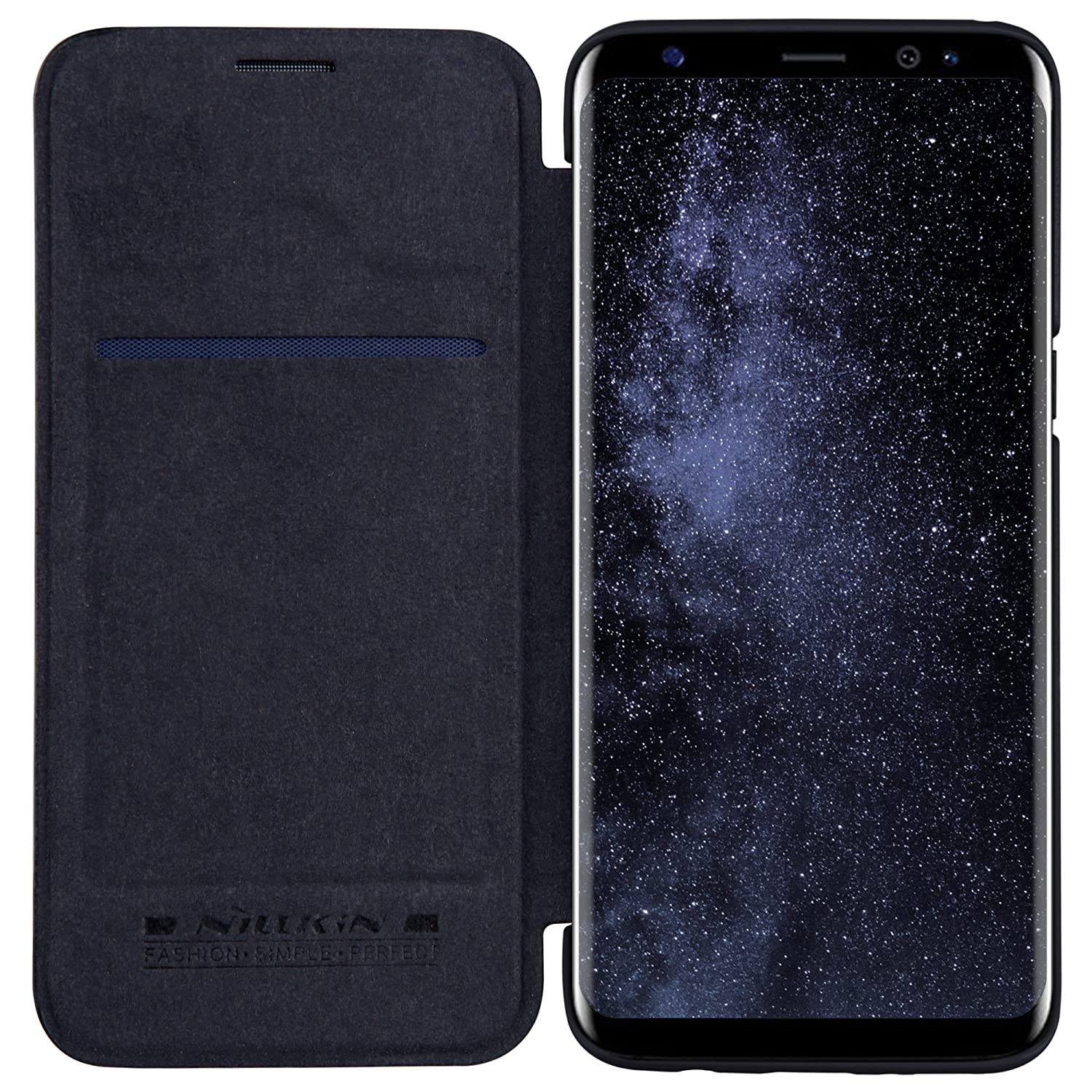 purchase cheap b5cc1 2d90f Nillkin Qin Series Royal Leather Flip Case Cover Case For Samsung Galaxy S8  - Black