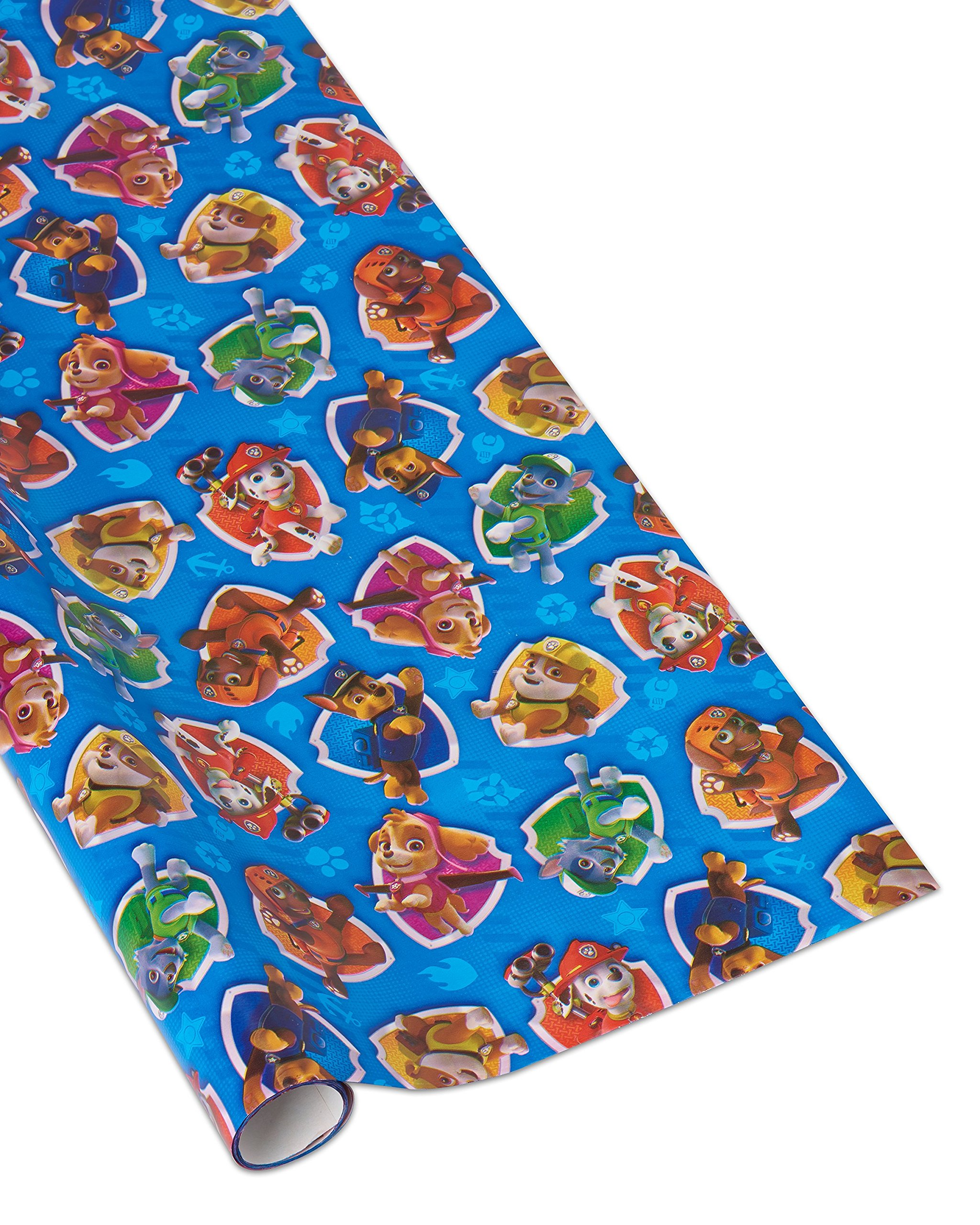 Amazon Gift Wrap Paw Patrol Blue Holiday Themed Wrapping