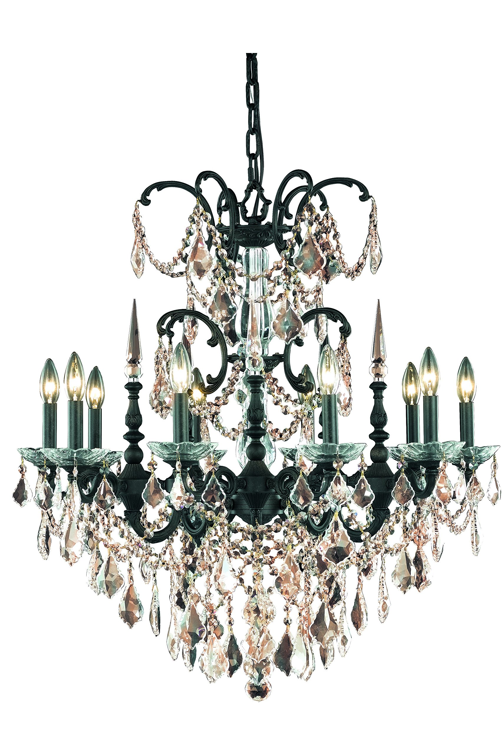 9710 Athena Collection Hanging Fixture D30in H31in Lt:10 Dark Bronze Finish (Royal Cut Golden Teak Crystals)