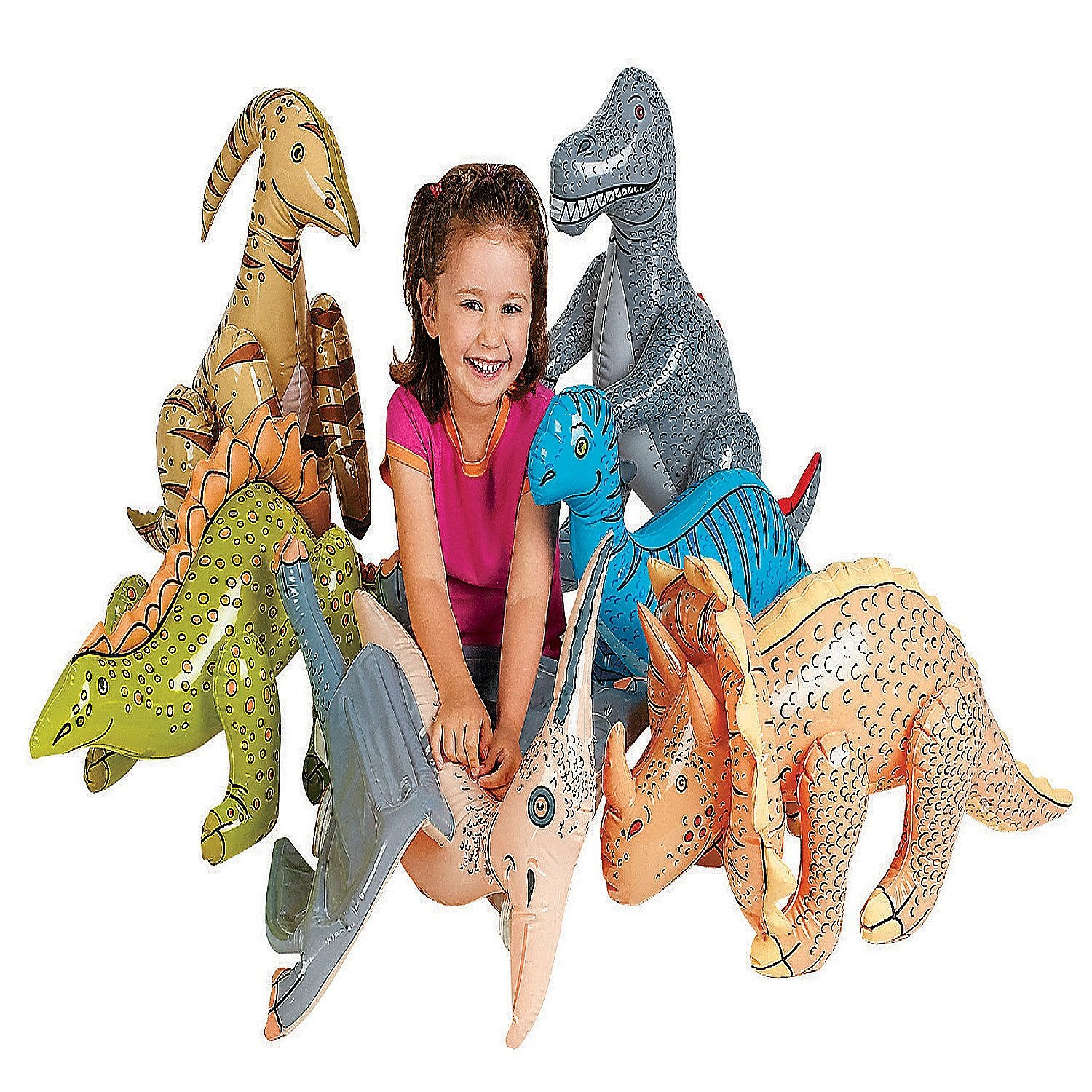 Inflatable Dinosaur 27 To 30 Play For Kids By Kidsco Kayco USA Party Favors Gift Prize Assorted Colored Prehistoric Inflatable Dinosaurs Fun Toy Set Of 6 Swimming Pool