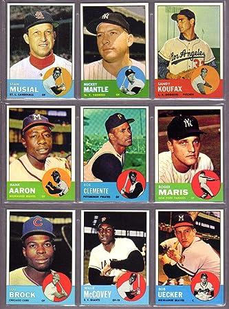 1963 Topps Baseball Reprint 9 Card Lot With Original Backs