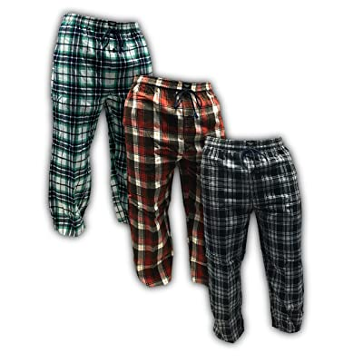 AMERICAN ACTIVE Men's 3 Pack 100% Cotton Flannel Lounge Pajama Sleep Pants at Men's Clothing store