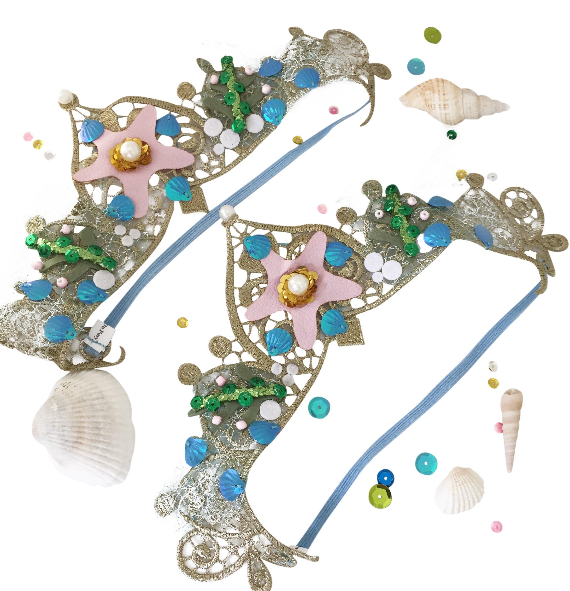 Mermaid Tiara Seashell Crowns for Girls Party Favors : Headband Birthday Party Favors for Kids Set of 8 Bulk Bundle