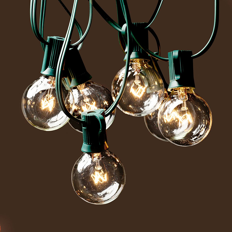 Indoor globe string lights - Amazon Com Deneve G40 String Lights With 25 Clear Globe Bulbs Green Home Improvement