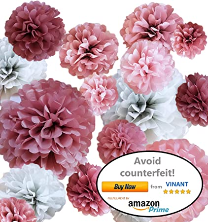Vinant 20 Pcs Tissue Paper Pom Poms Paper Flower Party Decoration For Birthday Party Baby Shower Bridal Shower Wedding Bachelorette