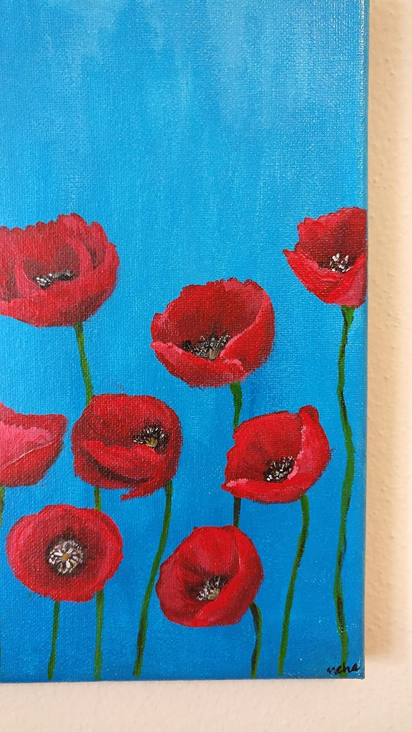 Amazon Red Poppies Painting Floral Painting Original Acrylic