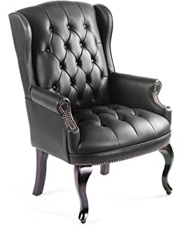 boss office products b809bk wingback traditional guest chair in black