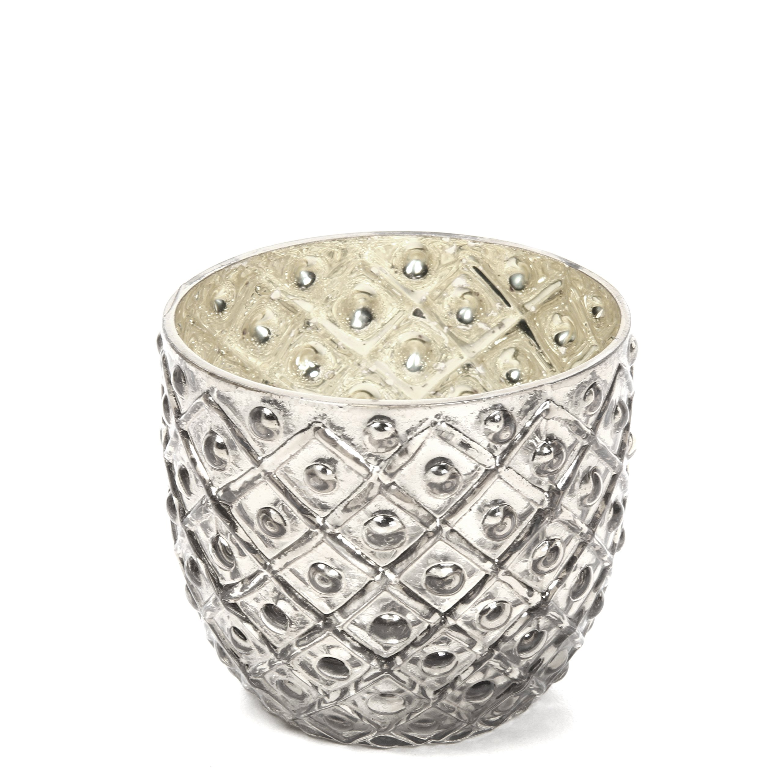 Hosley Set of 6 - Metallic Antique Silver LED Glass Votive/Tea Light Candle Holder 2.75'' Diameter. Ideal for Bridal, Weddings, Parties, Special Events, Spa and Aromatherapy Mini Flower Pot O4