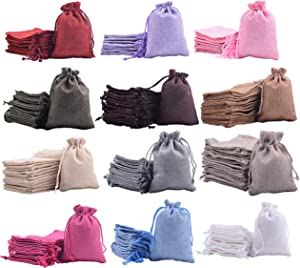 Sansam 24pcs 15.0x20.0cm/6.0''x8.0'' Mixed Drawstring and Lining Burlap/Hessian Bags, Burlap Sacks,Jewelry Pouches, Wedding Favor Bags, Jewelry Packaging, Gift Bags