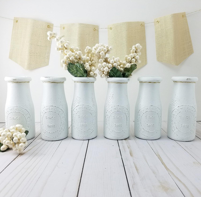 Amazon.com & Amazon.com: White Flower Vase - Bud Vases - Milk Bottles ...