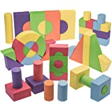 EVA Foam Building Blocks And Stacking Blocks -Non Toxic- 52 Pcs Creative And Educational- With Reusable zippered Bag By Dragon Too