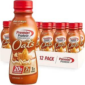 Premier Protein 20g Protein & Oats Shake, Oats & Maple, 11.5 Fl Oz Bottle, (12Count)