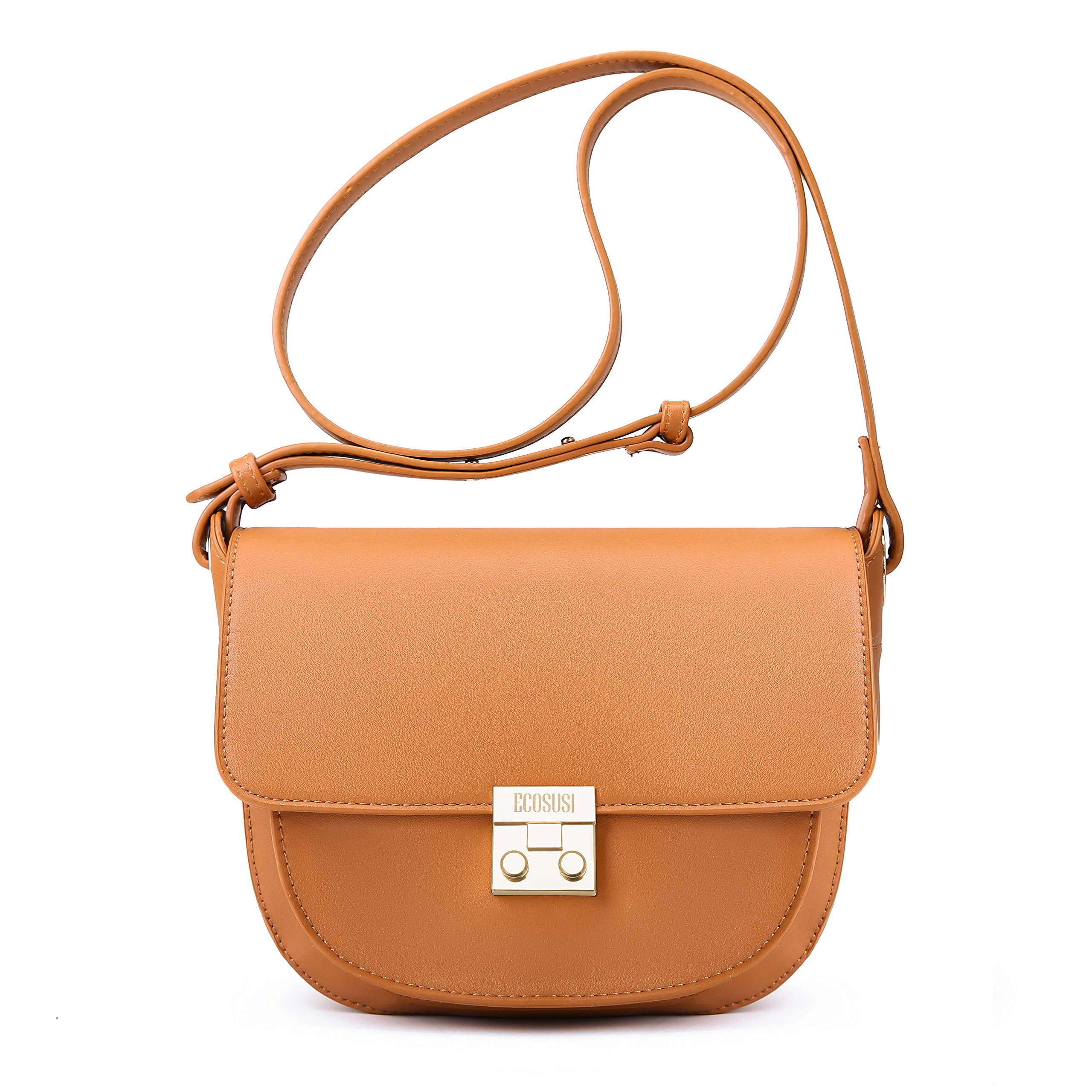 ECOSUSI Women Crossbody Saddle Bags Shoulder Purse with Flap Top & Phone Pocket, Brown