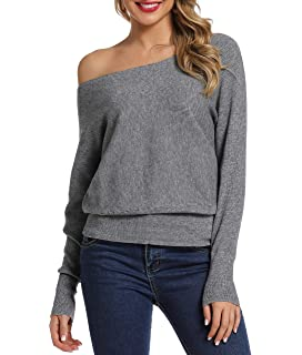 Kaei/&Shi Side Silt One Shoulder,Off Shoulder Tops for Women,Knitted Sweater,Slouchy Long Sweatshirt,Loose Pullover