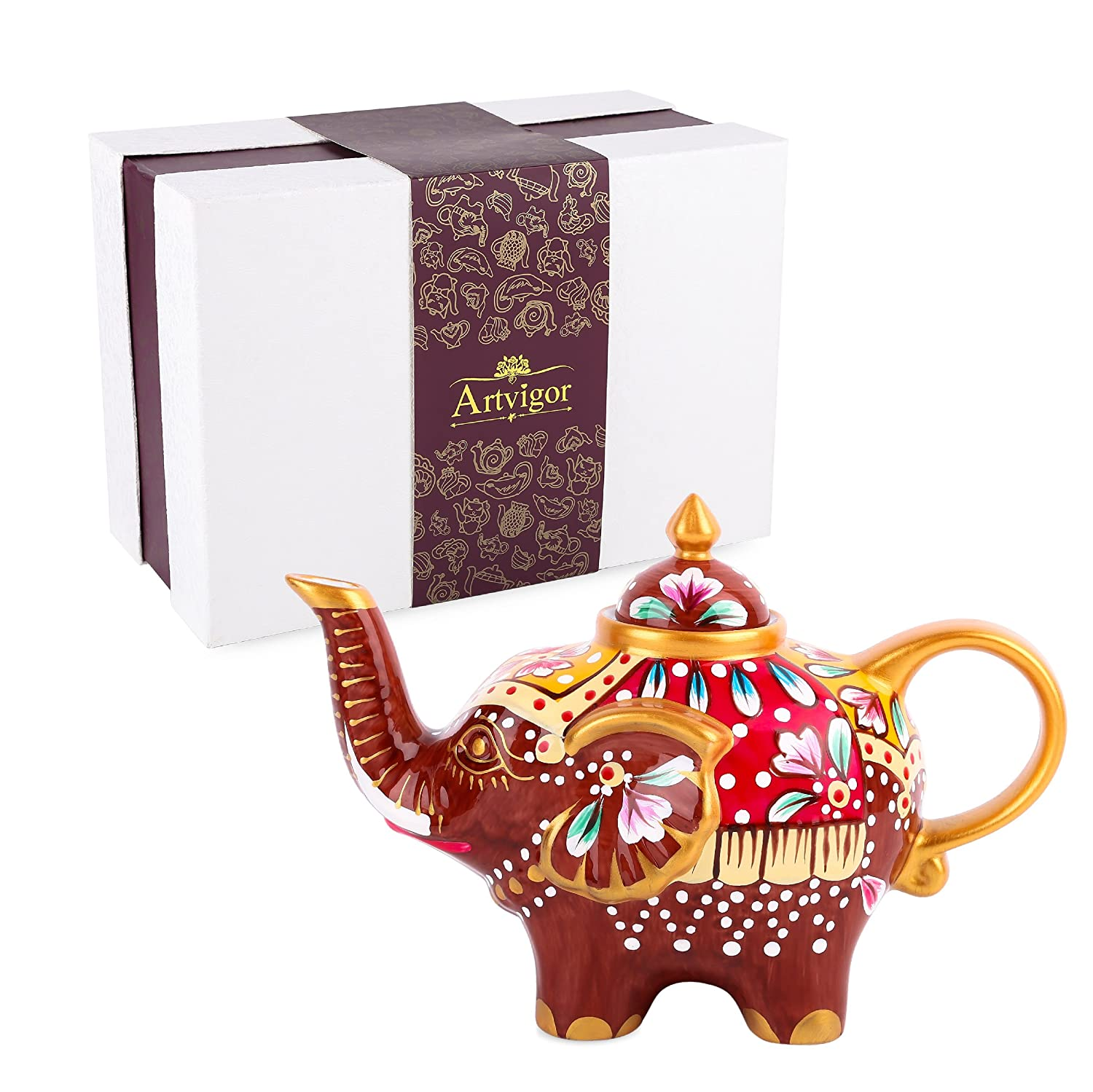 Artvigor Porcelain Hand Painted Multicolor Elephant Coffeepots Teapot Crafts with Gift Box,800ml