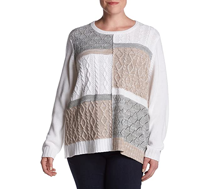 5fe013e3776 Alfred Dunner Plus Size Colorblock Textured Sweater 2X at Amazon ...