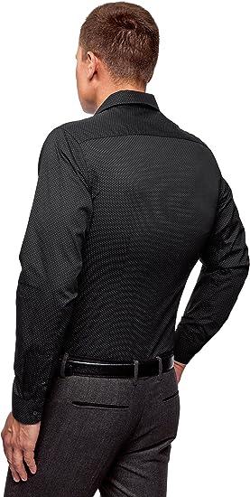 XL IT 54 Nero oodji Ultra Uomo Camicia in Cotone Stampato 44cm EU 44