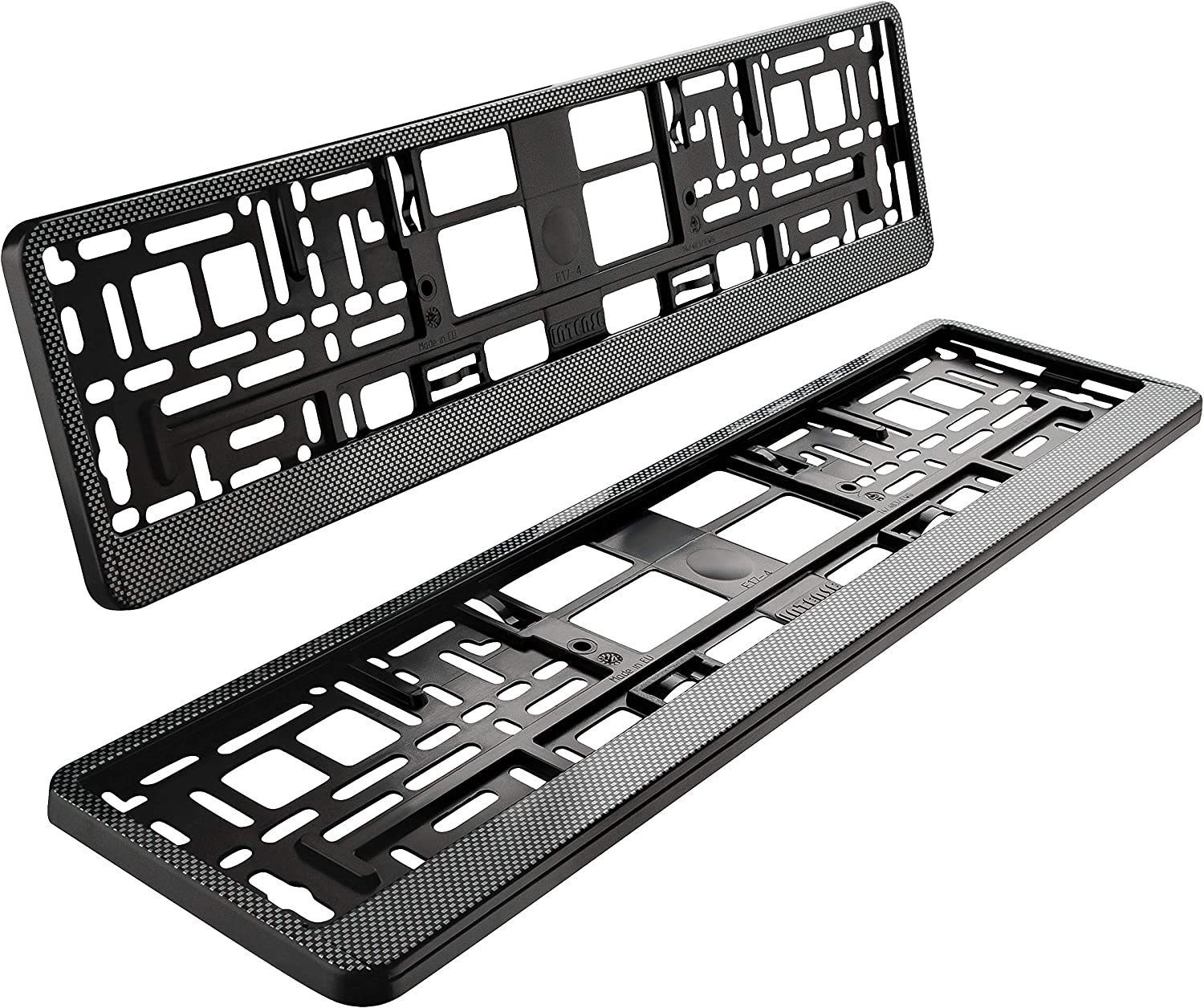 AUTOLIGHT 24 I 2 x License Plate Holder Carbon Look Black Silver I License Plate Holder Car I 520 x 110 mm
