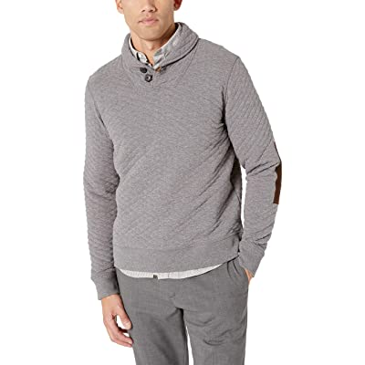 Billy Reid Men's Diamond Quilted Shawl Pullover with Suede Elbow Patches: Clothing