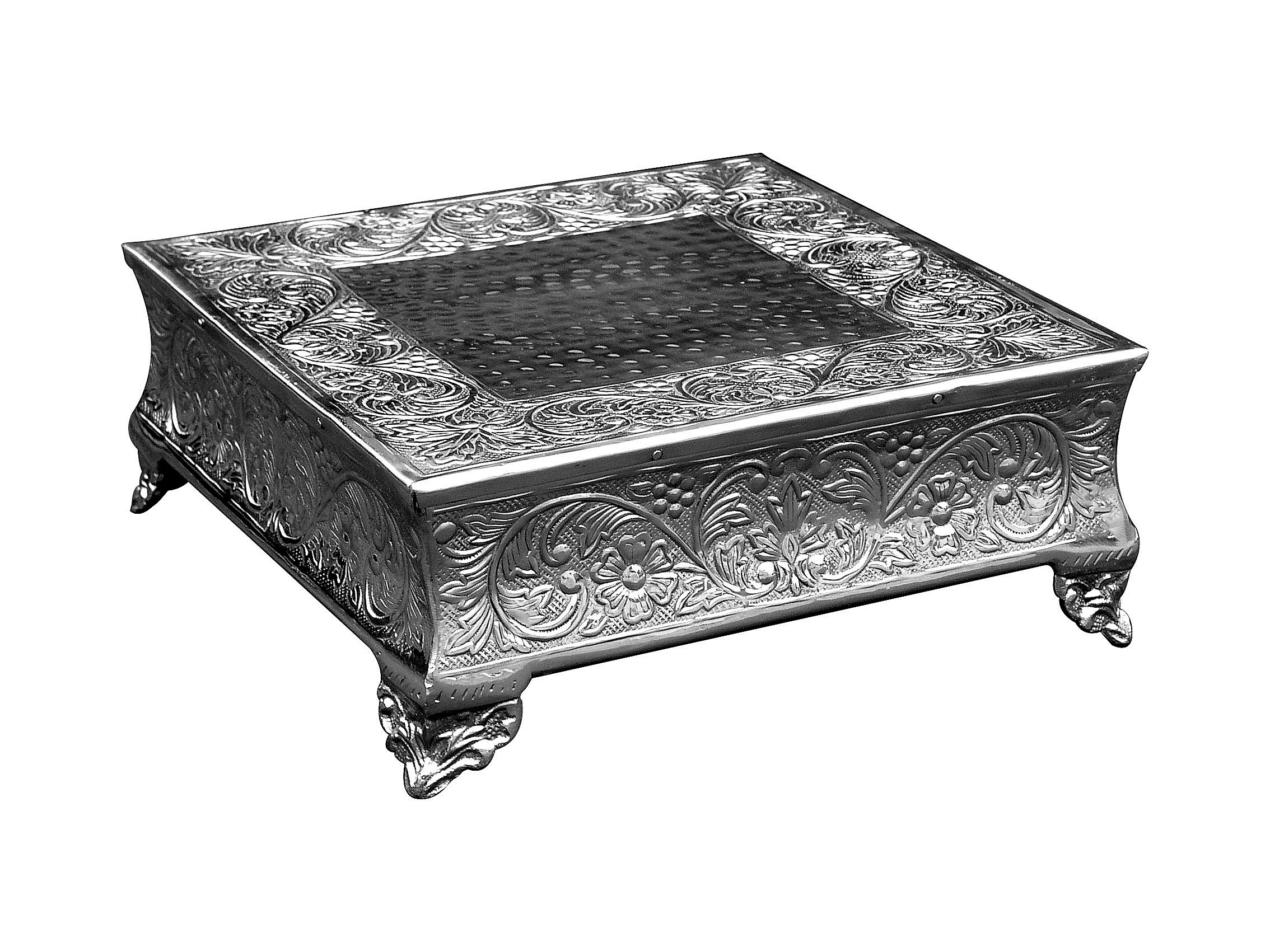 GiftBay Creations 751-22S Wedding Square Cake Stand, 22-Inch, Silver by GiftBay Creations (Image #4)