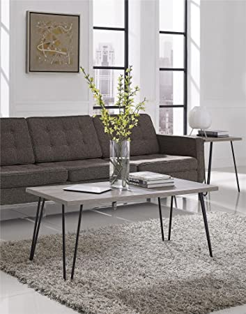 Ameriwood Home Owen Retro Coffee Table With Metal Legs Gray Oak Gunmetal