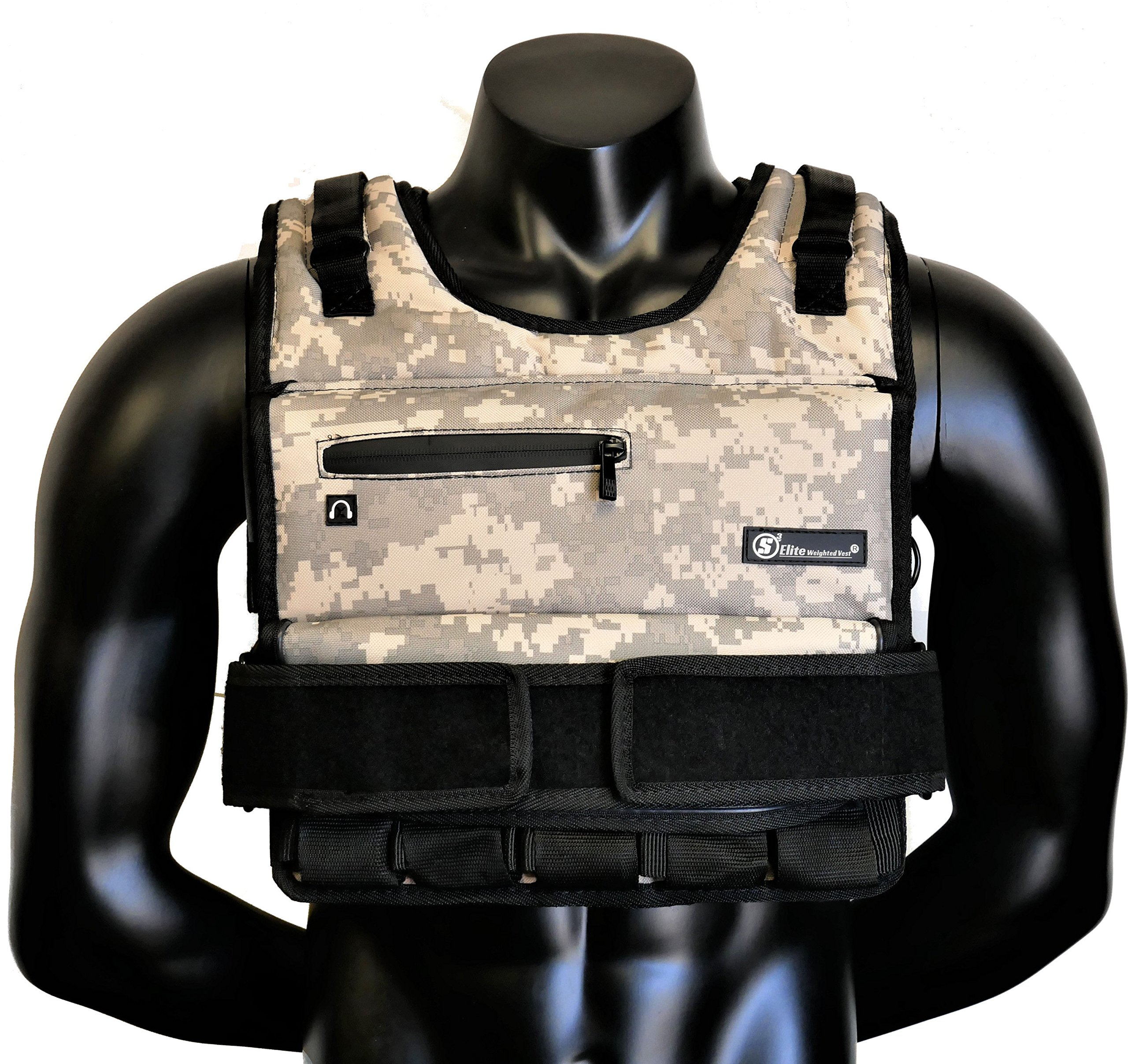 Strength sport systems Weight Vest (Short) - Premium Quality - Best for Cross fit Training - Running - Jogging - Fully Adjustable (S pro Weight Vest) (Elite II - Camouflage, 70lbs(Iron bar Set)) by Strength sport systems