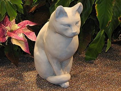 CAT Sitting STATUE 12u0026quot; Kitten Sculpture CLASSIC GRAY Cast CEMENT  GARDEN Outdoor Decor