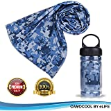 Micro Fiber Cooling Fitness Towel W/ Sports Bottle| Sports Towels For Instant Sweat Relief| Perfect For The Gym, Yoga, Pilates, Golf, Swimming, Work| Hypoallergenic For Sensitive Skin| 3 Color Options