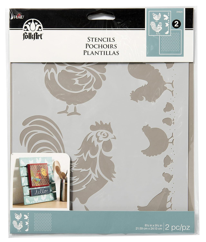 2-Pack 31624 Coordinating Chicken Coop FolkArt Stencils