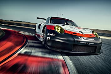 Porsche 911 RSR Race (2017) Car Print on 10 Mil Archival Satin Paper Black