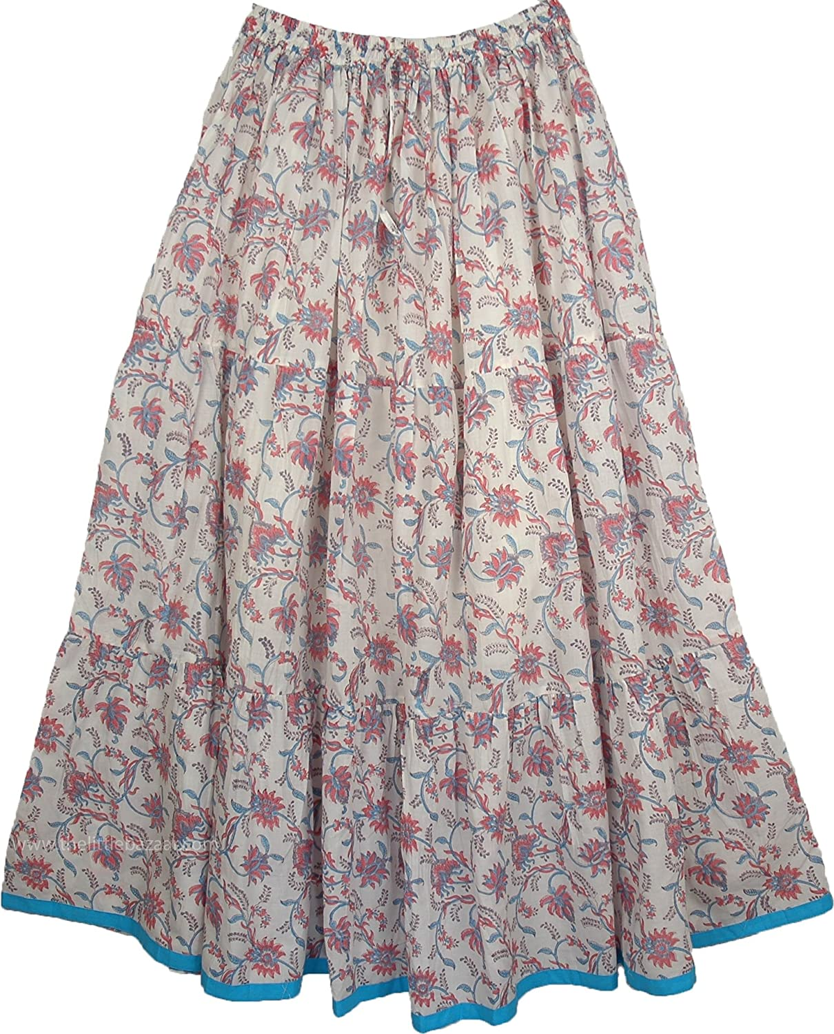 "TLB Cotton Printed Peasant Maxi Skirt In White Pink Blue - L:38""; W:26""-38"""