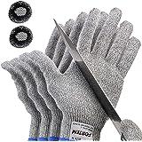 Fortem Cut Resistant Gloves, 2 Pairs (4 Gloves), Level 5 Protection, Food Grade, EN388 Certified (Large)