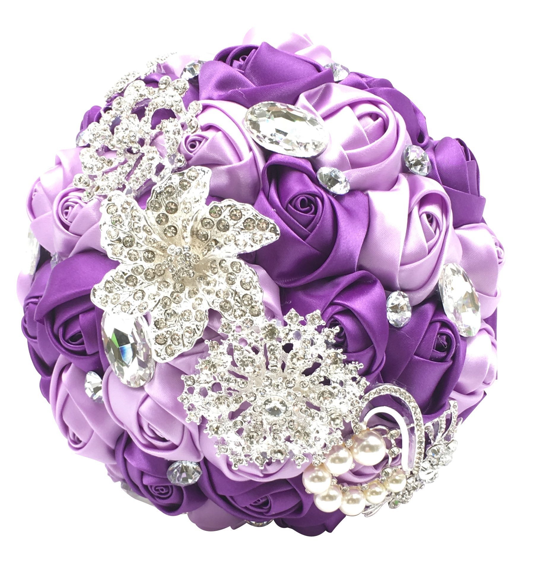 silk flower arrangements abbie home advanced customization romantic bride wedding holding toss bouquet rose brooch with pearls and rhinestone decorative brooches accessories-multi color selection (336pu)