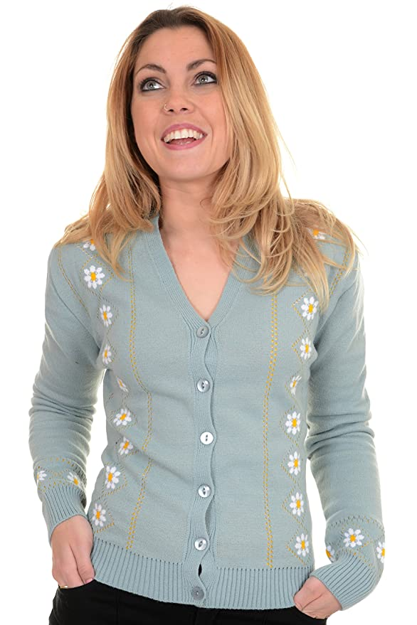 1950s Style Sweaters, Crop Cardigans, Twin Sets  Retro New Vintage Lazy Daisy Cardigan $44.95 AT vintagedancer.com