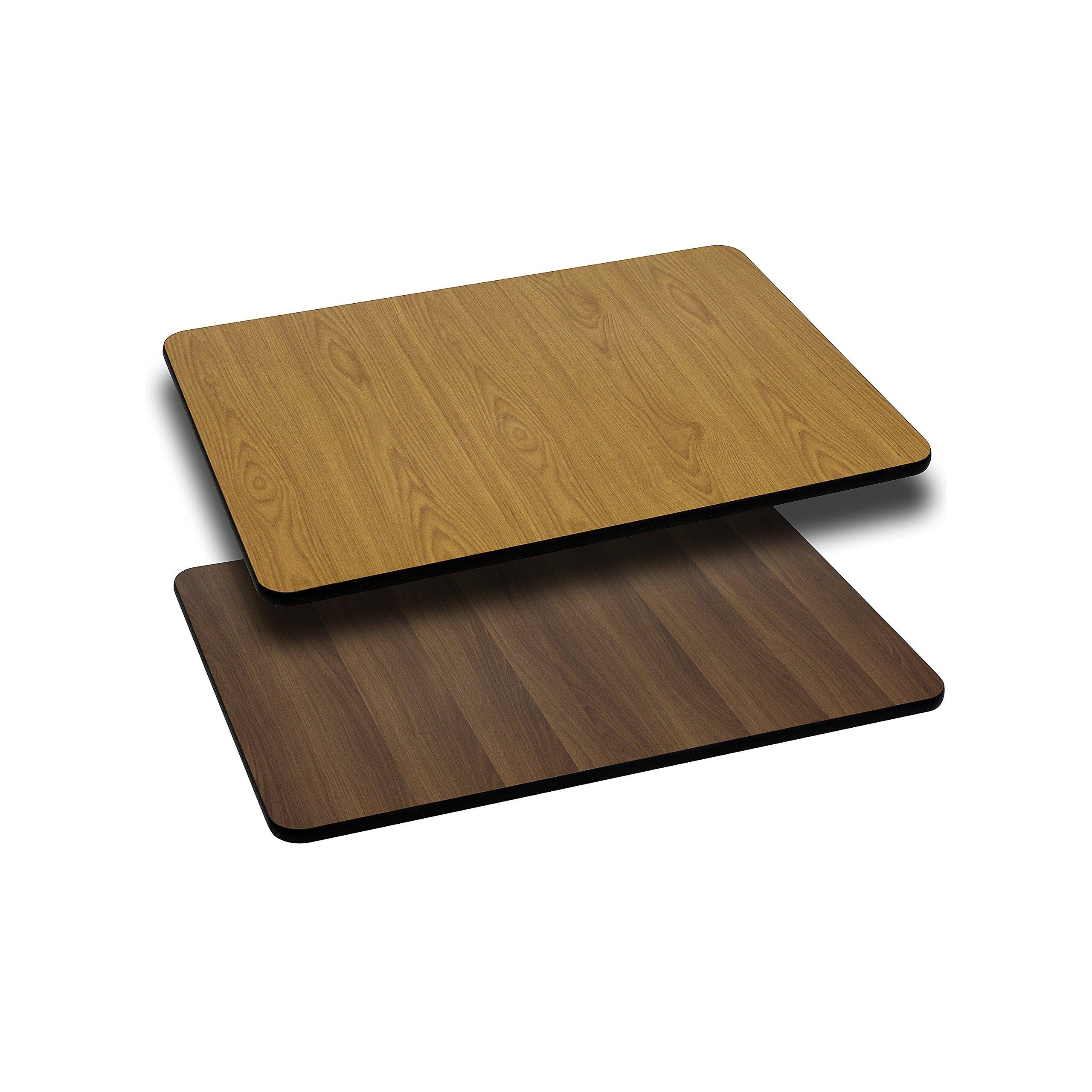 Flash Furniture 24'' x 30'' Rectangular Table Top with Natural or Walnut Reversible Laminate Top