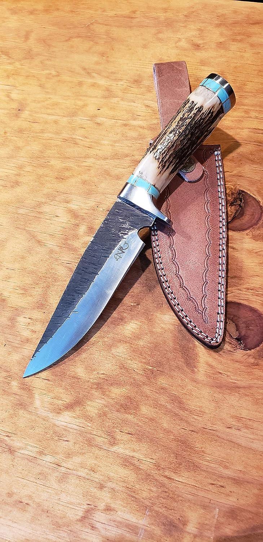 Amazon com: Deer Antler Turquoise Handle Hunting Knife