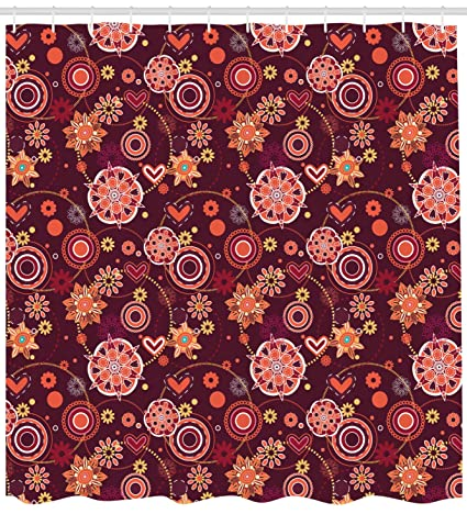 Ambesonne Red And Brown Shower Curtain Vintage Rich Foliage Pattern Ornamental Spring Flowers Circles