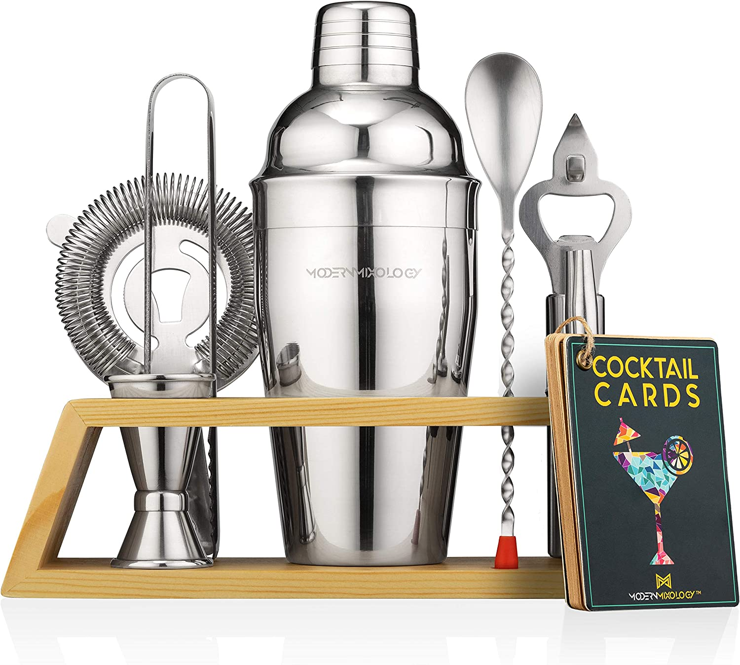 Mixology Bartender Kit with Stand | Bar Set Cocktail Shaker Set for Drink Mixing - Bar Tools: Martini Shaker, Jigger, Strainer, Bar Mixer Spoon, Tongs, Bottle Opener | Best Bar Set for the Home