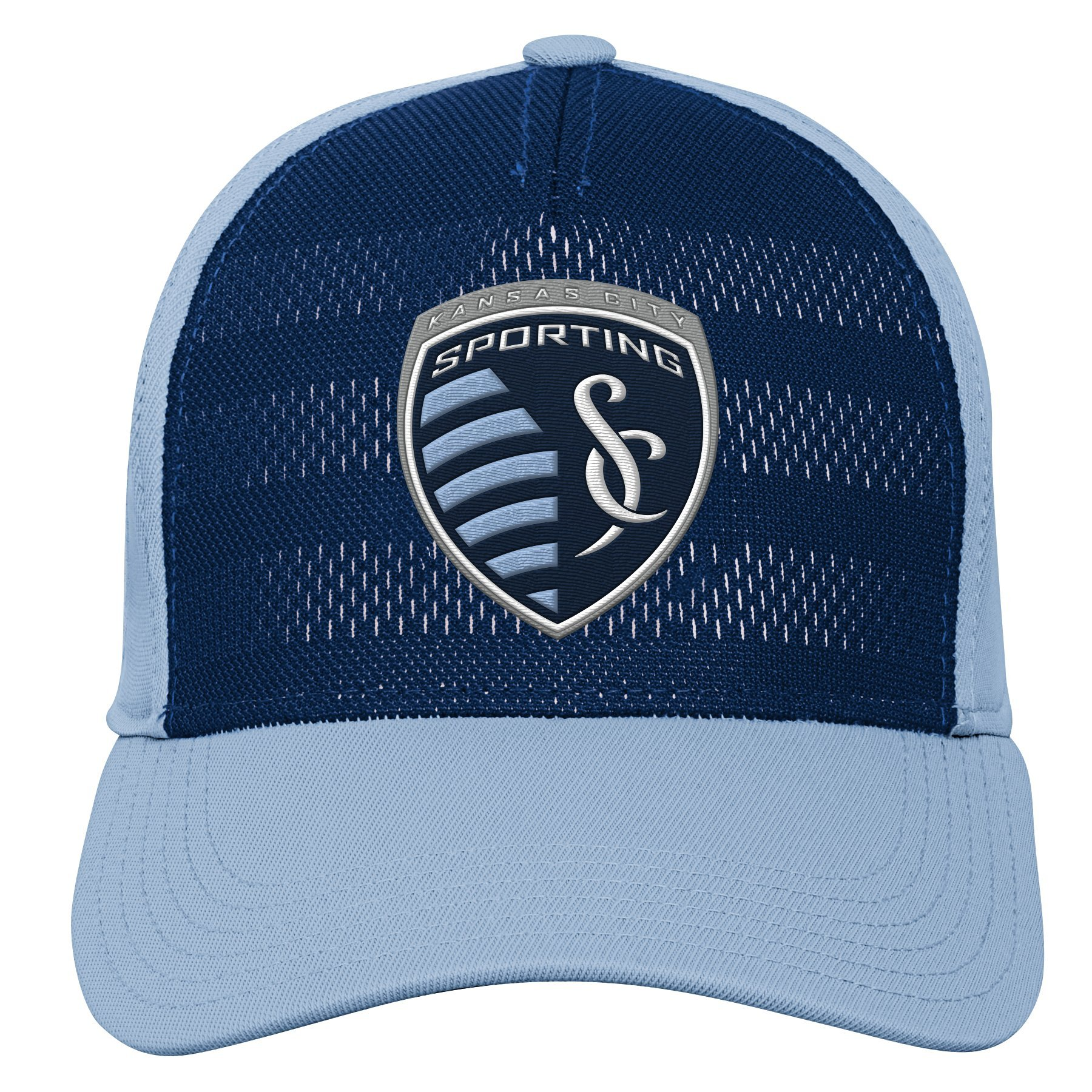 MLS Kansas City Sporting Youth Boys Authentic Structured Flex, 1 Size, Smoke Blue