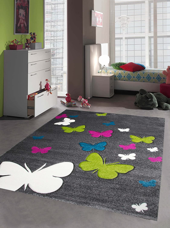 Kinderteppich Mädchen Schmetterling pink weiss grau grün türkis Größe 200 x 290 cm