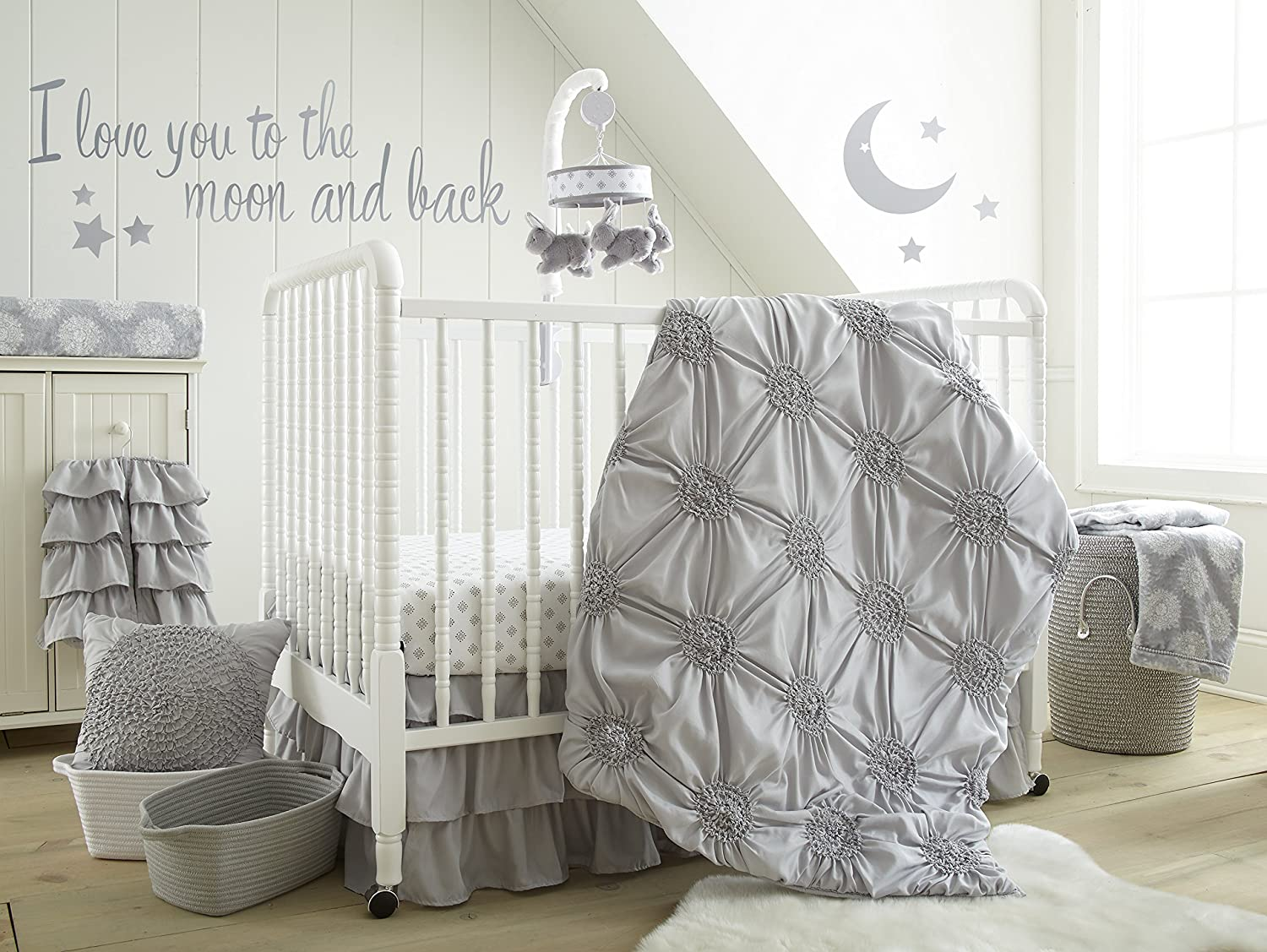 Levtex Home Baby Willow 5 Piece Crib Bedding Set, Grey
