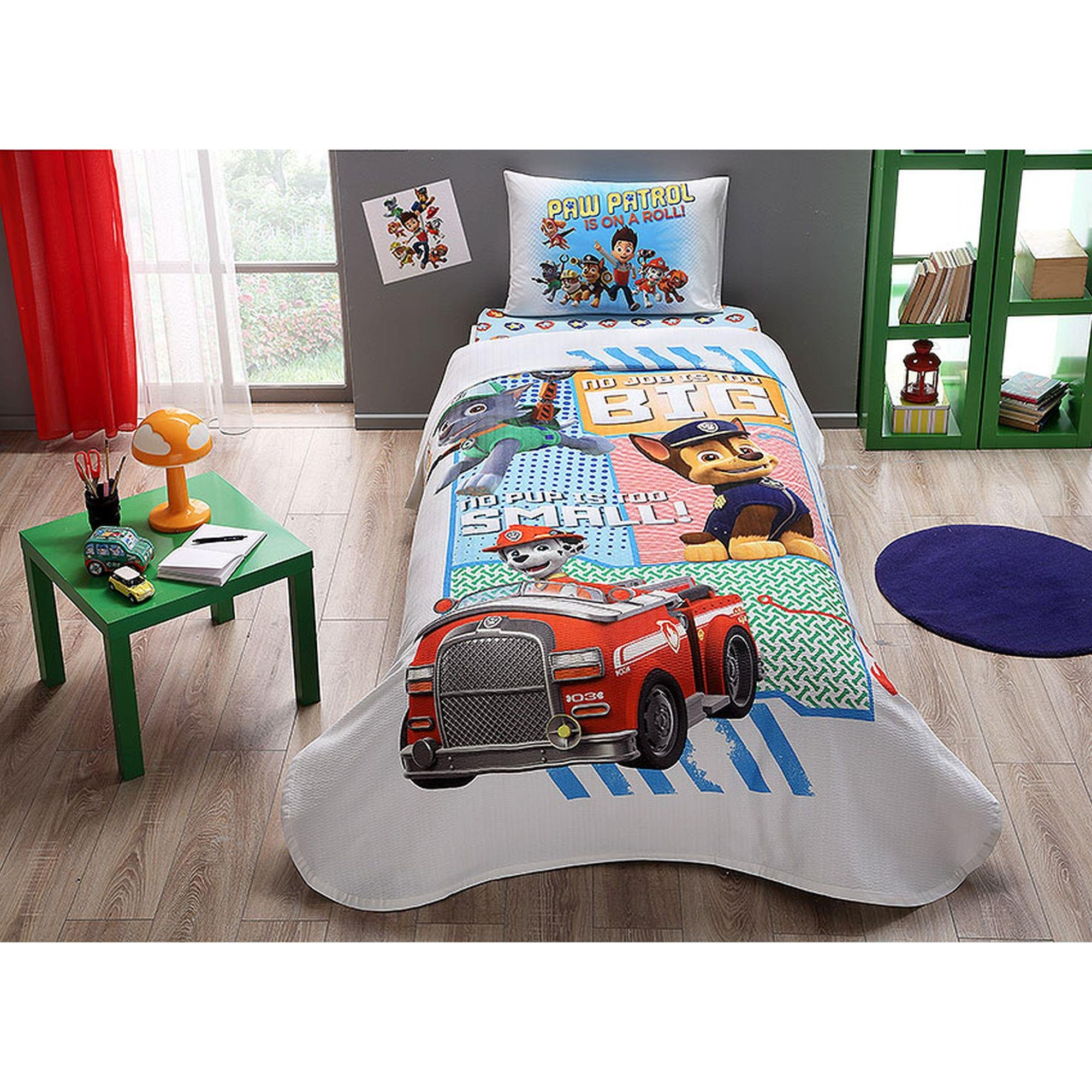 TAC 3-Piece Paw Patrol Dogs Licensed Cartoons Bedspread Coverlet (Pique) Set, 100% Pure Cotton Luxury, Children Teenager Single Size