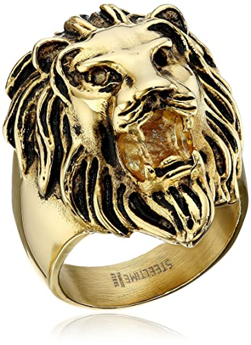 Men s 18kt Gold Plated Stainless Steel Lion Head Ring Size 9