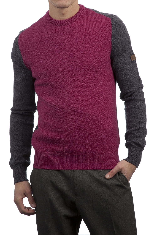Hawick Knitwear Men's 100% Lambswool Crew Neck Color Block Sweater