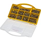 Brackit 780 Pc Chipboard Screw Assortment Kit | Large Value Pack Zinc-Plated, Extra Strength Assorted Wood Screws for Door Hinges, Repairs, Drilling Boards with Clear Top Tool Box