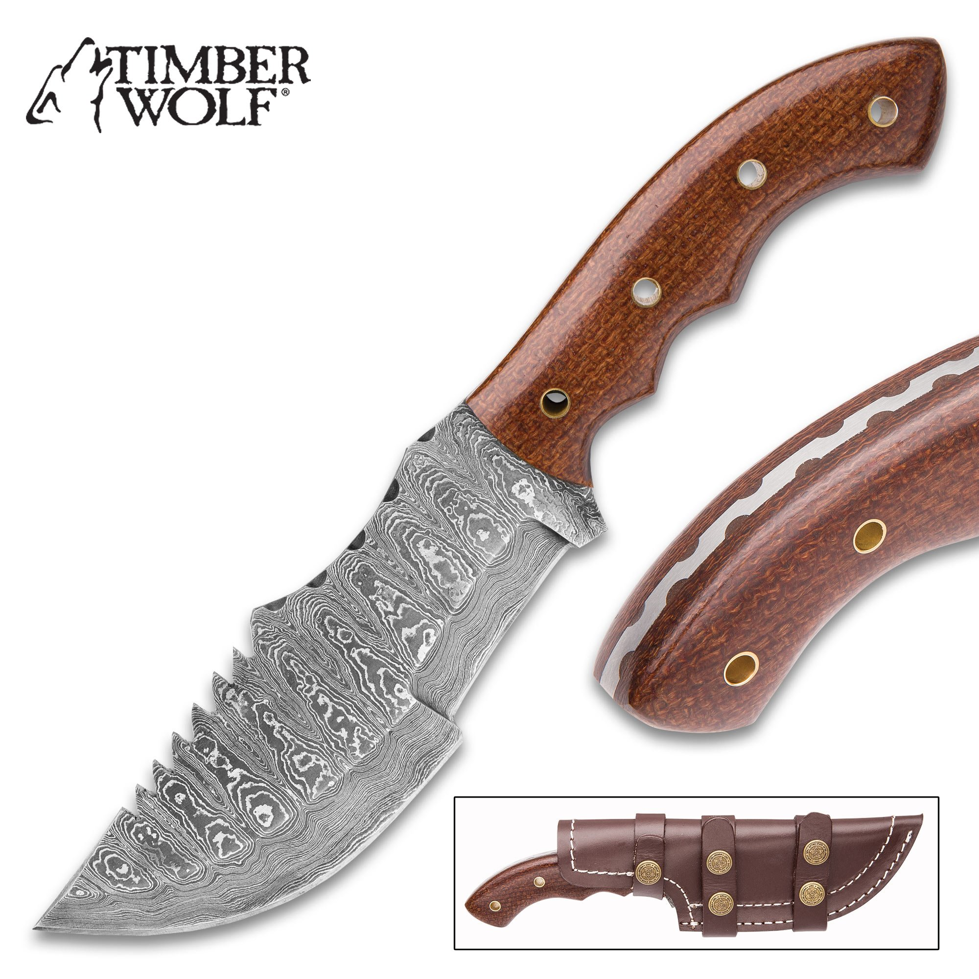 Timber Wolf Walkabout Fixed Blade Knife - Hand Forged Damascus Steel - Full Tang - Burlap Micarta - Genuine Leather Sheath - Bowie Tracker Survival Multipurpose Utility Outdoors Chop Saw - 9 3/4'' by Timber Wolf (Image #1)