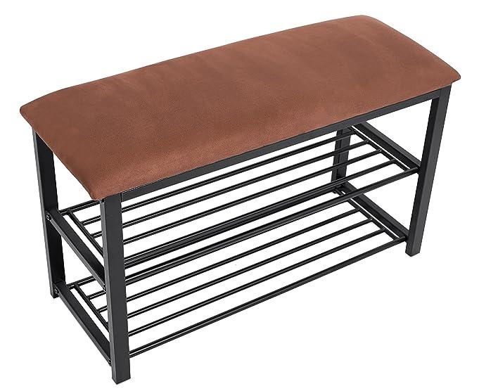 amazoncom birdrock home entryway storage bench with shoe rack brown cushion seat metal kitchen u0026 dining