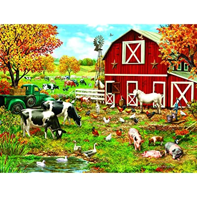 A Day on The Farm 300 Piece Jigsaw Puzzle by SunsOut: Toys & Games